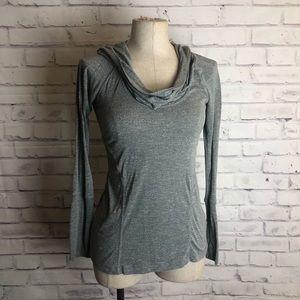 Zella gray cowl neck hoodie yoga top